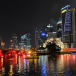 Stock Photo: SINGAPORE - FEBRUARY 4: Bay of Singapore by night, 4, 2011 in Si