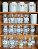 Empty scent bottles in old pharmacy — 图库照片