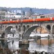 Train crossing ancient bridge — Stock Photo