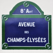 Stock Photo: Avenue des Champs-Elysees street sign in Paris