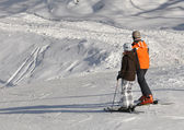 Skiers on a slope — Stock Photo