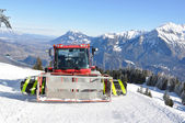 Snowplow in Pizol, famous Swiss skiing resort — Stock Photo