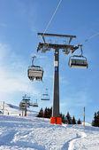 Ski lift in Pizol, famous Swiss resort — Stock Photo