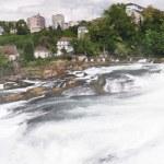 Rhinefall in Schaffhausen, Switzerland, the largest Waterfall in — Stock Photo #21021205