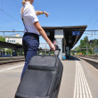 Girl with a suitcase at the train station — Stock Photo