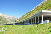 Road gallery at St. Gotthard pass, Switzerland — Stock Photo