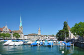 Zurich downtowrn across Limmat river — Stock Photo