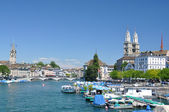 Zurich downtown across Limmat river — Stock Photo