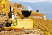 Red wine, cheese and grapes on the terrace of vineyard in Lavaux — Stock Photo