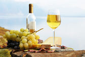 Wineglass, cheese and grapes on the terrace of vineyard in Lavau — Stock Photo