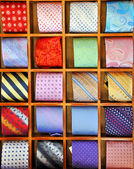 Ties on the shelf of a shop in Como region, Italy — Stock Photo