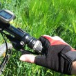 Hand in a glove on the handlebar of a mountain bike - Stock Photo