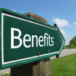 BENEFITS road sign — Stock Photo