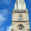 Stock Photo: Double headed top of Grossmunster church -- symbol of Zurich