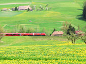 Alpine express in Emmental region, Switzerland — Zdjęcie stockowe