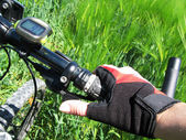 Hand in a glove on the handlebar of a mountain bike — Stock Photo