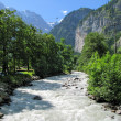 Mountain river in Muerren, Switzerland — Stock Photo