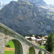 Mountain rail road in Muerren, famous Swiss skiing resort in Sh — Stock Photo #21069825