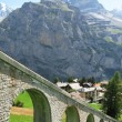 Mountain rail road in Muerren, famous Swiss skiing resort in Sh - Stock Photo