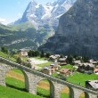 Muerren, famous Swiss skiing resort - Stock Photo