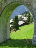 View to Muerren, Famous Swiss skiing resort — Stock Photo