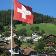 Swiss flag against Alpine cottages — Stock Photo