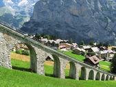 Mountain rail road in Muerren, famous Swiss skiing resort — Stock Photo