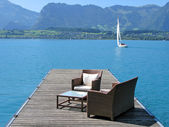 Romantic view to the lake Thun, Switzerland — Stock Photo