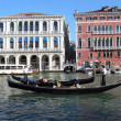 Two Venetian black gondolas — Stock Photo