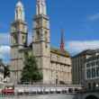 Stock Photo: Double headed Grossmuenster church - symbol of Zurich