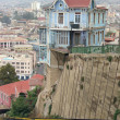 Stock Photo: Hillside house at funicular line. Valparaiso, Chile