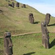 Stock Photo: Moais on slope of Rano Raraku volcano, Easter Island