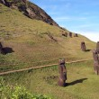 Moais on the slope of Rano Raraku volcano, Easter Island — Stock Photo