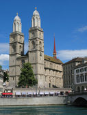 Double headed Grossmuenster church - symbol of Zurich — Stock Photo
