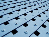 Blue metal grate texture — Stock Photo