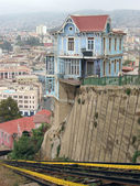 Hillside house at funicular line. Valparaiso, Chile — Stock Photo