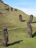 Moais on the slope of Rano Raraku volcano, Easter Island — Stock Photo