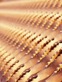 Metal ribbed texture (shallow DOF) — Stock Photo