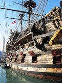 Old Spanish galleon in the port of Genoa — Stock Photo