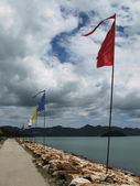 Ceremonial 7-shaped flags in the port of Langkawi island, Malays — Stock Photo