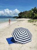Young woman on a desert beach of Langkawi island, Malaysia — Stock Photo