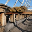 Deck of old Spanish galleon - Stock Photo