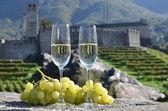 シャンパン グラスとブドウのペア。ベリンツォーナ、スイス — ストック写真