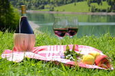 Wine and fruits served at a picnic in Alpine meadow. Switzerland — Stock Photo