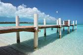 Wooden jetty. Exuma, Bahamas — Stock Photo