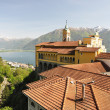Madonna del Sasso, medieval monastery on the rock overlook lake Maggiore, Switzerland - Stock Photo