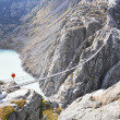 Stock Photo: Trift Bridge, longest 170m pedestrian-only suspension bridge in Alps. Switzerland