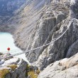 Trift Bridge, the longest 170m pedestrian-only suspension bridge in the Alps. Switzerland — Stock Photo