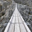 Trift Bridge, the longest 170m pedestrian-only suspension bridge in the Alps. Switzerland — Stock Photo #25199977