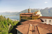 Madonna del Sasso, medieval monastery on the rock overlook lake Maggiore, Switzerland — Stock Photo